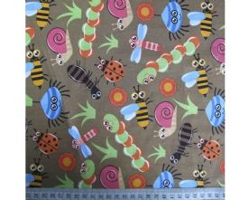 100% Cotton Bugs Print on Mocca Fabric x 0.5m